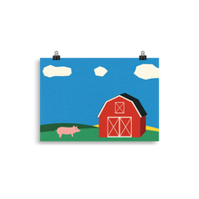 Load image into Gallery viewer, Poster Art Print Illustration – Pig And Barn