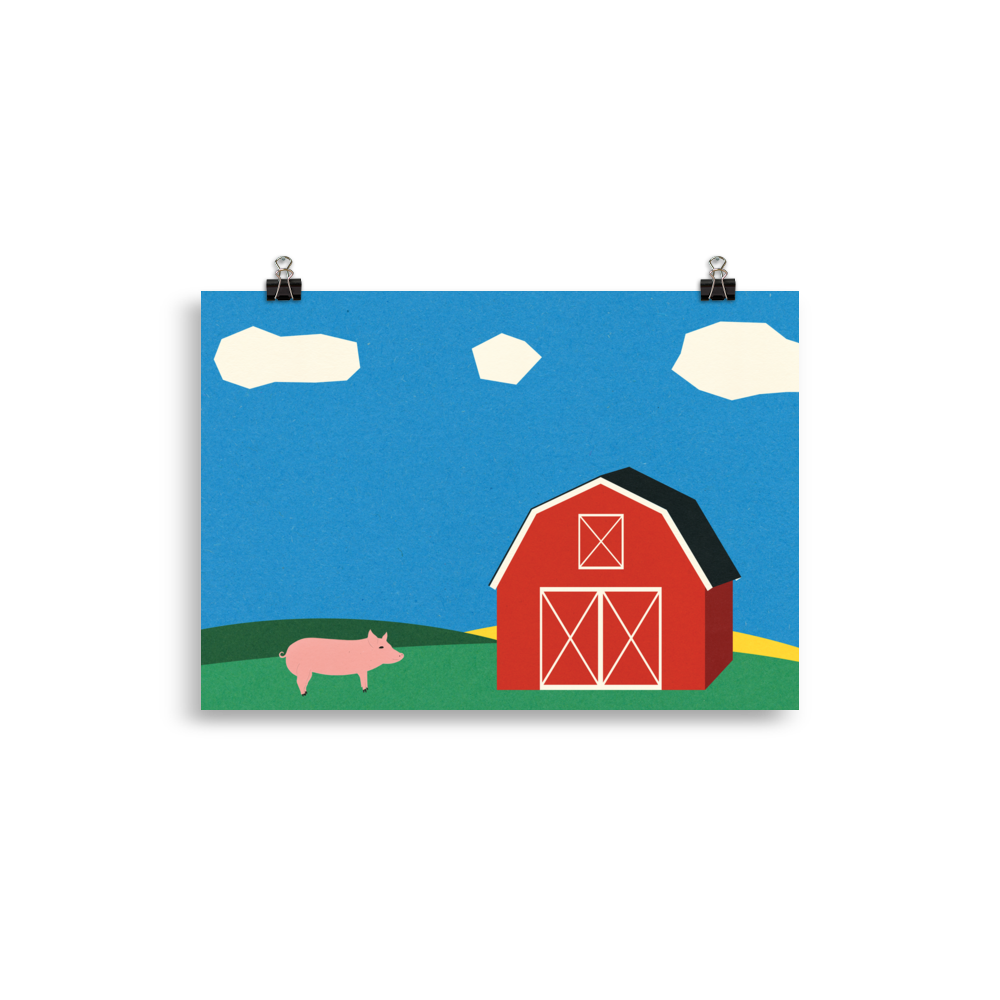 Poster Art Print Illustration – Pig And Barn