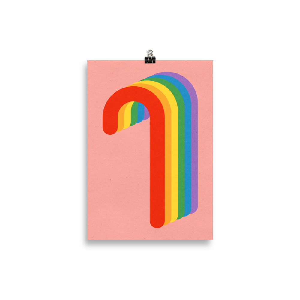 Poster Art Print Illustration – Rainbow Candy Cane