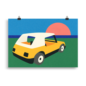 Poster Art Print Illustration – Sunset Car