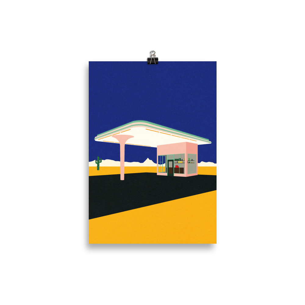 Poster Art Print Illustration – Texas Desert Gas Station