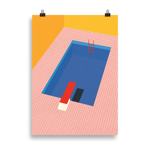 Poster Art Print Illustration – Backyard Pool