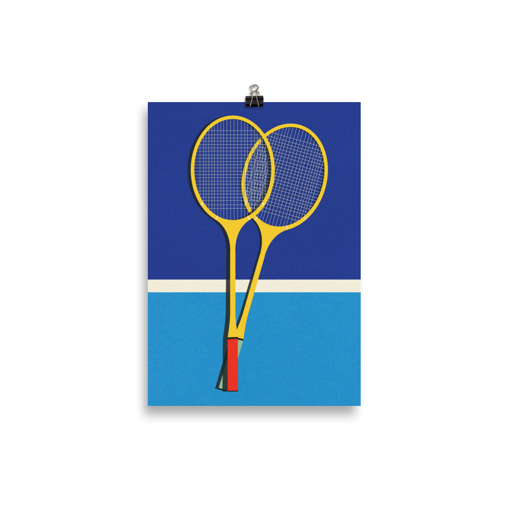 Poster Art Print Illustration – Wooden Badminton Rackets