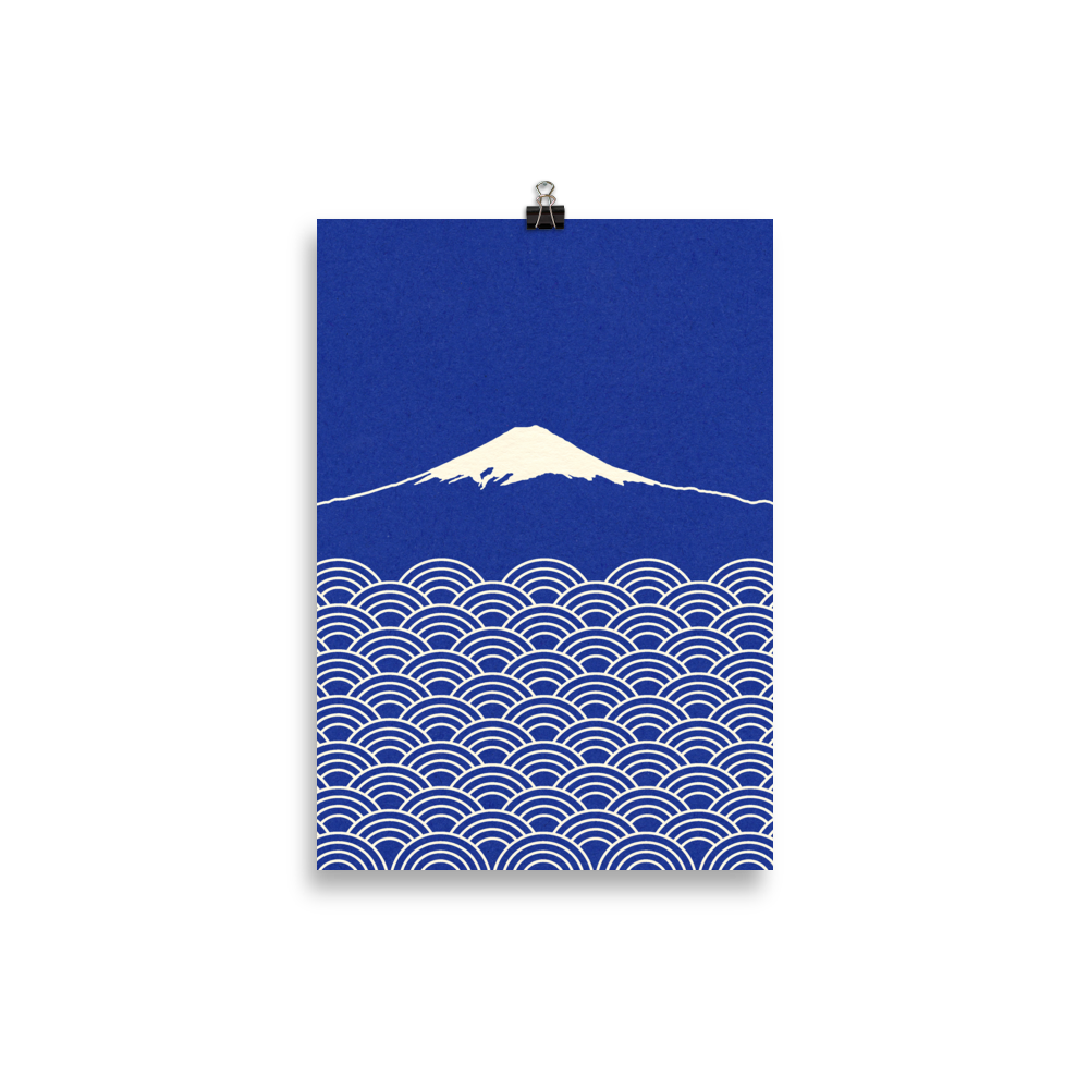 Poster Art Print Illustration – Waves And Fuji San