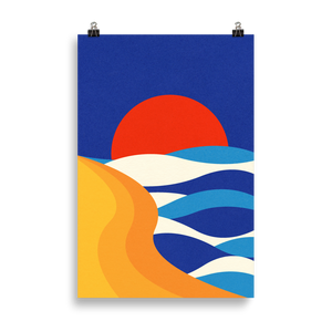 Poster Art Print Illustration – Sunset At The Beach