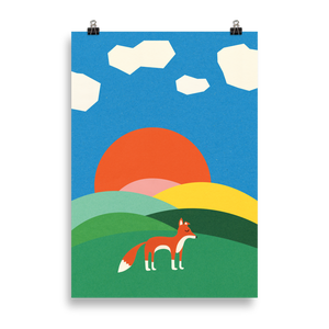 Poster Art Print Illustration – Fox on the field