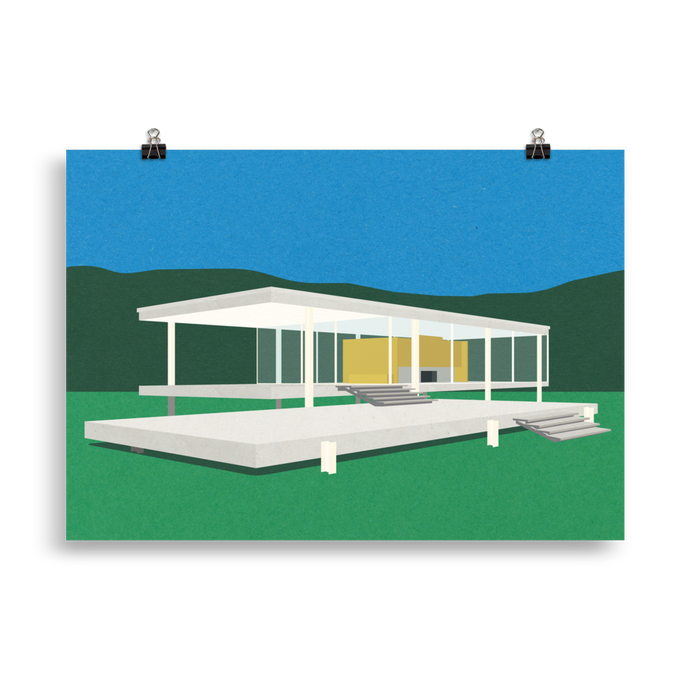 Poster Art Print Illustration – Ludwig Mies van der Rohe Farnsworth House