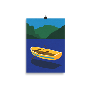 Poster Art Print Illustration – Boat On The Mountain Lake