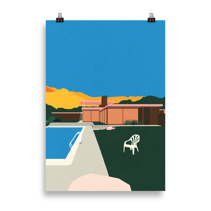 Poster Art Print Illustration – Kaufmann Desert House Poolside
