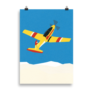 Poster Art Print Illustration – Aircraft Over The Clouds