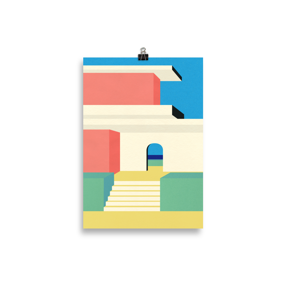 Poster Art Print Illustration – Santa Cruz Beach House