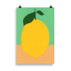 Poster Art Print Illustration – Lemon With Two Leaves