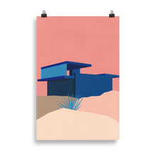 Load image into Gallery viewer, Poster Art Print Illustration – Kaufmann Desert House Palm Springs Blue - Rosé