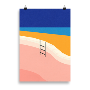 Poster Art Print Illustration – Pool By The Ocean