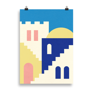 Poster Art Print Illustration – Houses And Stairs Of Rabat