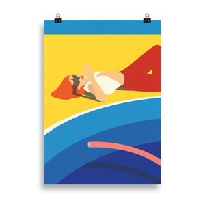 Poster Art Print Illustration – Viktoria at the pool