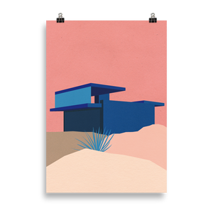 Poster Art Print Illustration – Kaufmann Desert House Palm Springs Blue - Rosé