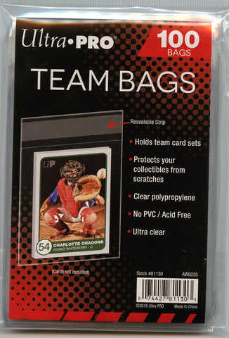 Ultra Pro Resealable Team Bags 100ct Pack