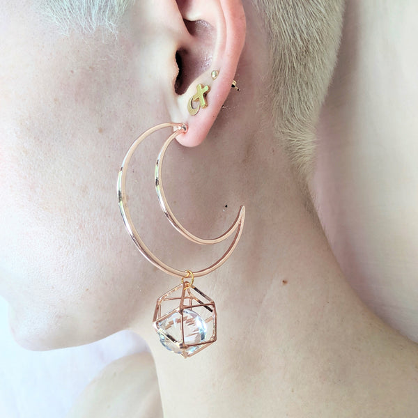 rose gold/silver crescent moon crystal earrings