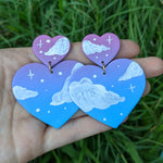 Large Maroon Blue Cloudy Heart Earrings