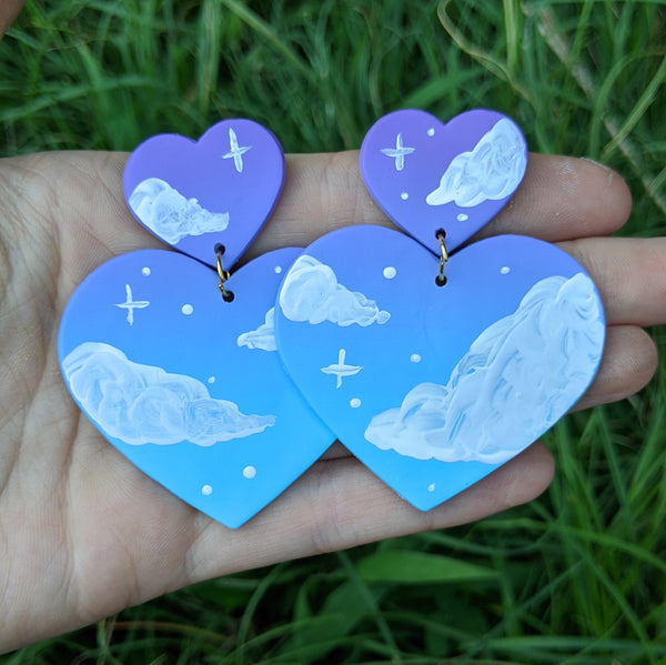 Large Purple Aqua Cloudy Heart Earrings
