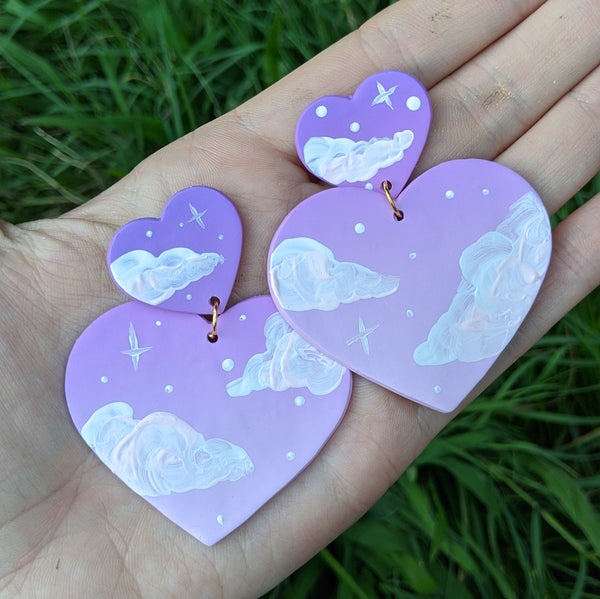 Large Purple Pink Cloudy Heart Earrings