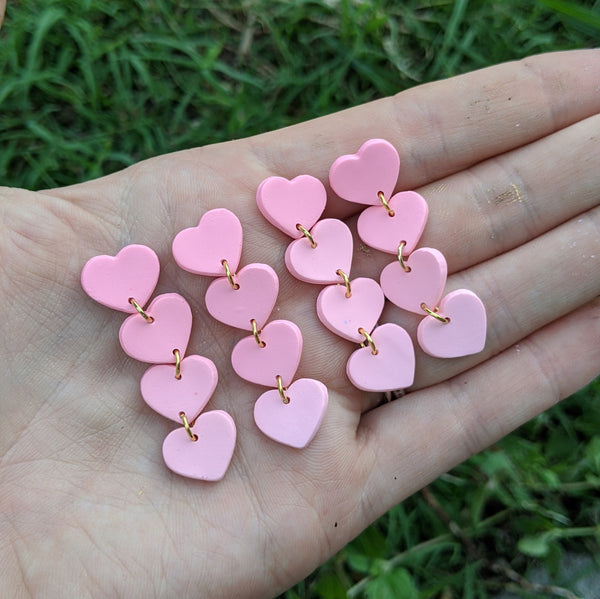 Mini Pink 4 Tiered Heart Earrings