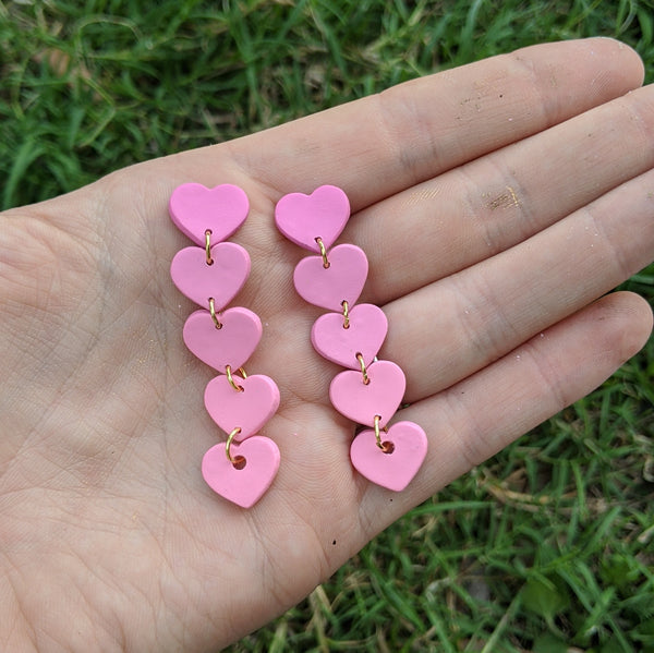 Mini Pink 5 Tiered Heart Earrings