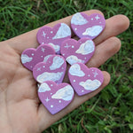 Dark Purple Cloudy Heart Studs