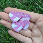 Purple Cloudy Heart Studs