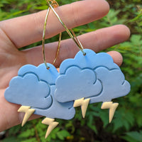 Blue Grey Storm Cloud Hoops