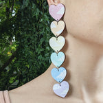 6 Tiered Rainbow Cloudy Heart Earrings