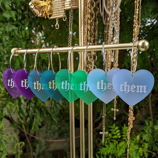 They/Them Pronoun Hoops - Colors