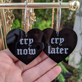 Cry Now Cry Later Heart Hoops - Black
