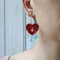 Triple Teardrop Heart Hoops