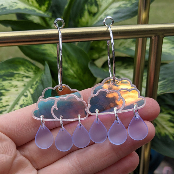 Clear Iridescent Raincloud Hoops
