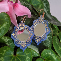 No Bad Vibes Mirror Earrings - Baby Blue and Gold
