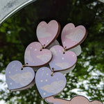 Pink and Purple 3 Tiered Cloudy Heart Earrings