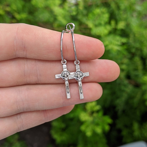 Mini Silver Crucifix Hoops