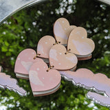 Peach 3 Tiered Cloudy Heart Earrings