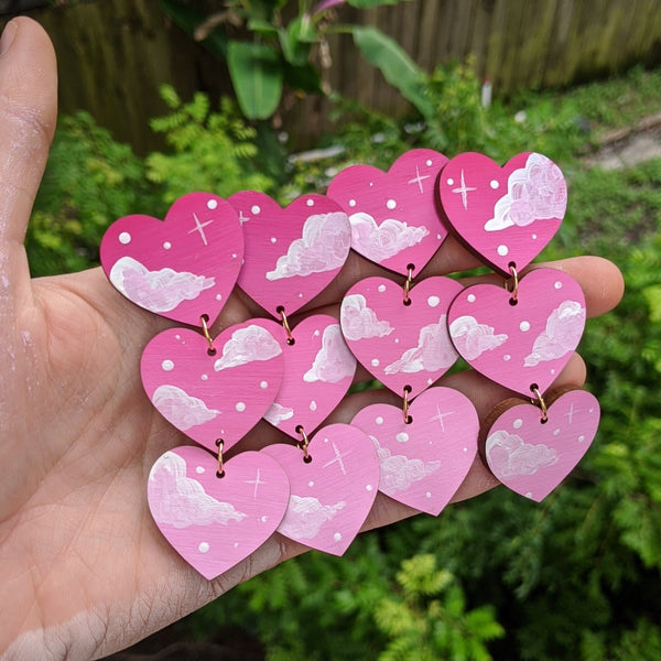 Hot Pink 3 Tiered Cloudy Heart Earrings