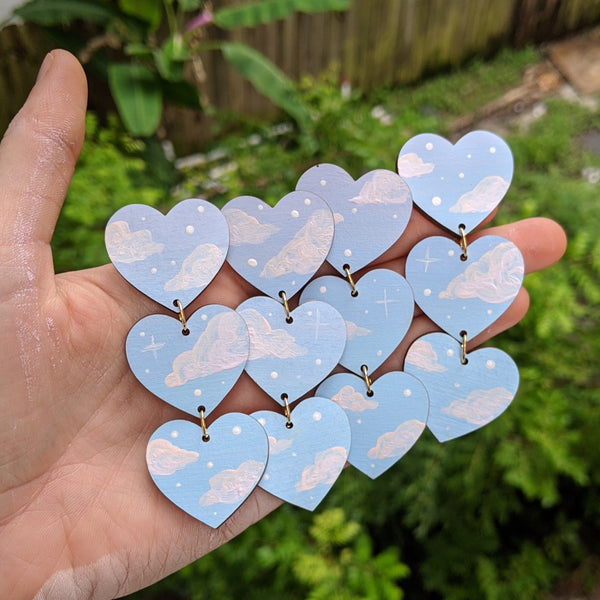 Baby Blue 3 Tiered Cloudy Heart Earrings
