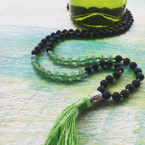 Lucky Me Mala with Aventurine and Lava Stone @malamantramaker