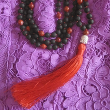 Creative Me Mala necklace with Jasper and Lava stones