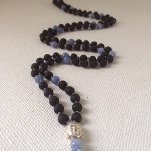 Angel Mala Necklace made from Angelite and Lava Stones