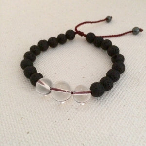 Darkness into Light Bracelet  Clear and Lava Stones