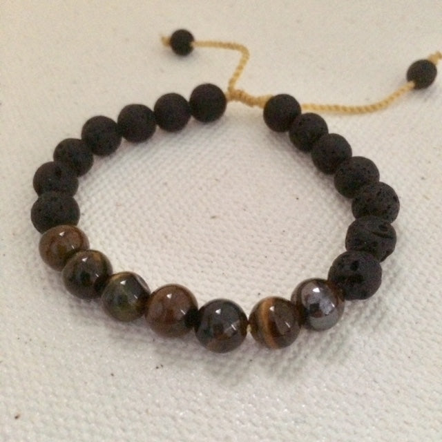 Tigers Eye Stone Bracelet with Lava Stones