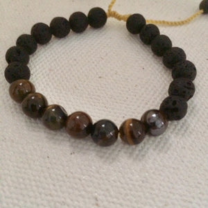 Tiger Eye Stone Bracelet with Lava Stones