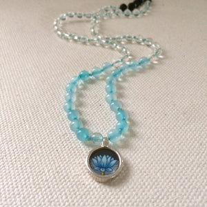 Blue Lotus Flower - Circle of Light Necklace