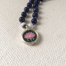 Pink Lotus Flower - (Dark Blue Background) Circle of Light Necklace